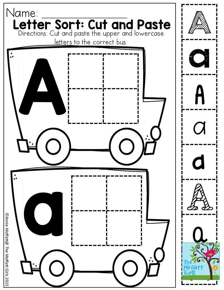 Cut and Paste Letter Worksheets Back to School Packets