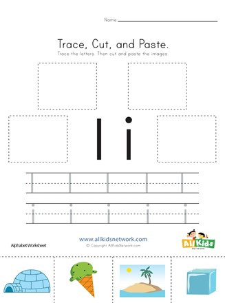 Cut and Paste Letter Worksheets Trace Cut and Paste Letter I Worksheet
