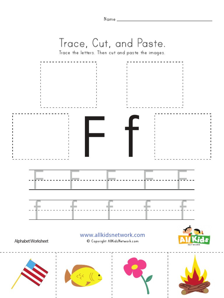 Cut and Paste Letter Worksheets Trace Cut Paste Letter F Worksheet