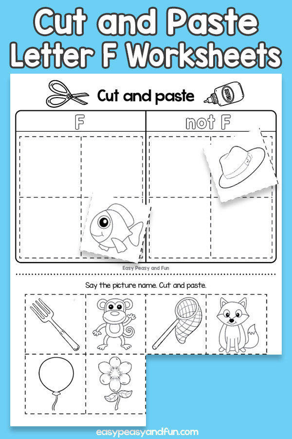 Cut and Paste Letter F Worksheets for Kids