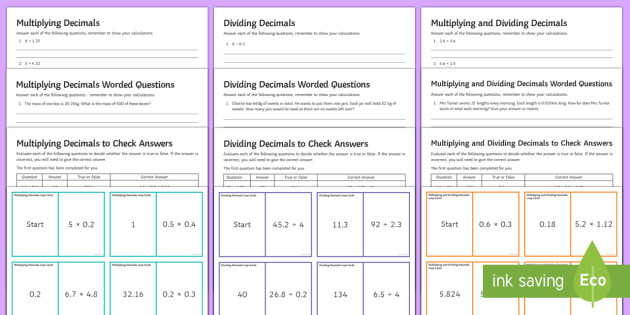 Dividing and Multiplying Decimals Worksheet Multiplying and Dividing Decimals Resource Pack
