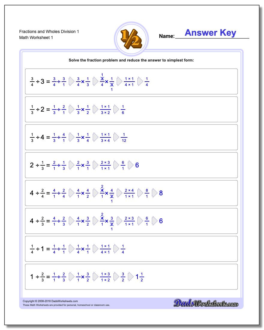Dividing and Multiplying Fractions Worksheet Fraction Division