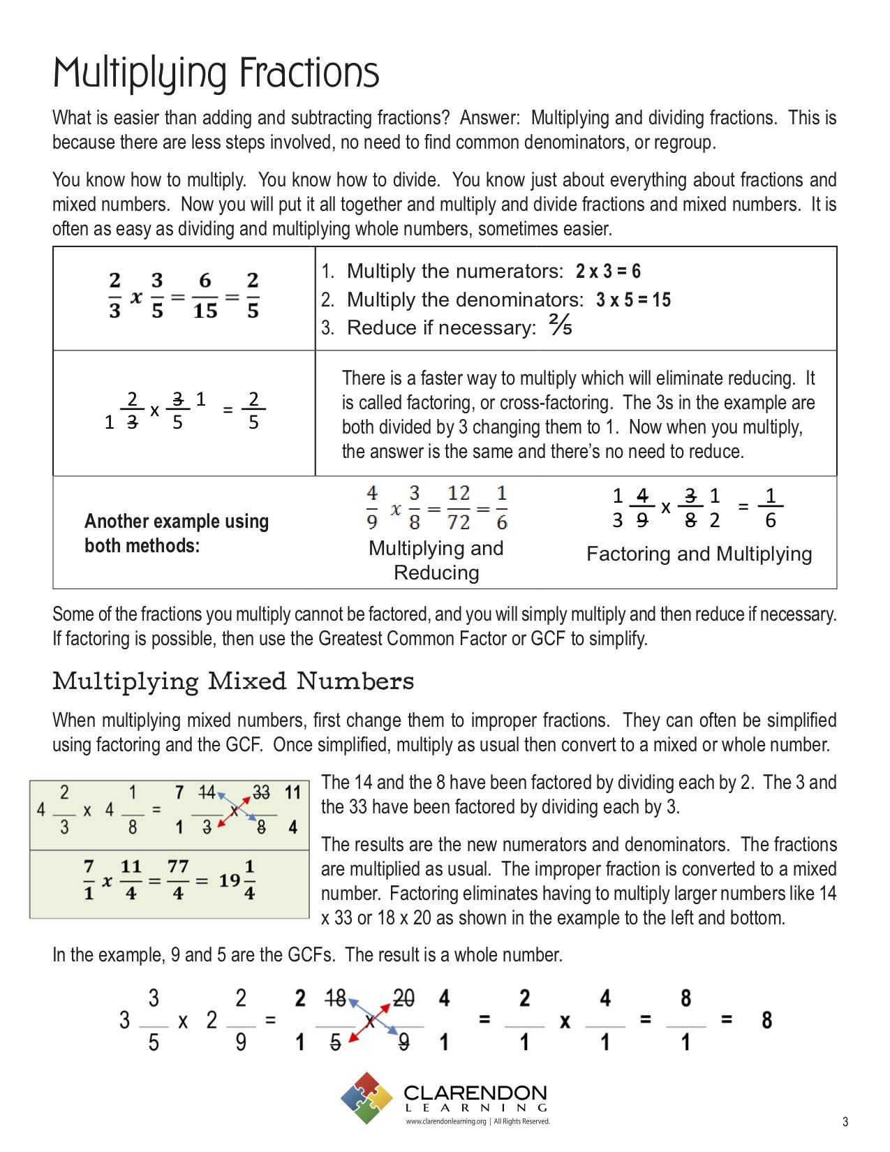 Dividing and Multiplying Fractions Worksheet Multiplying and Dividing Fractions
