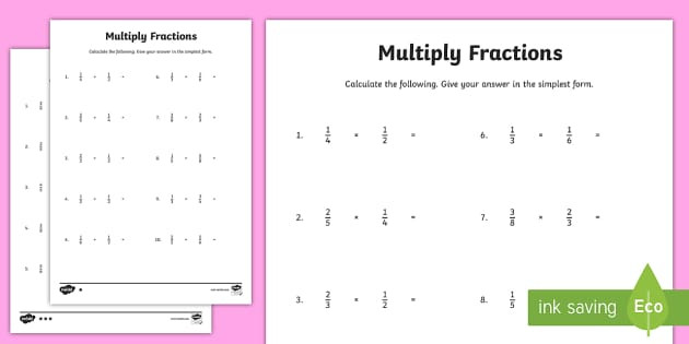 Dividing and Multiplying Fractions Worksheet Multiplying Fractions Worksheets