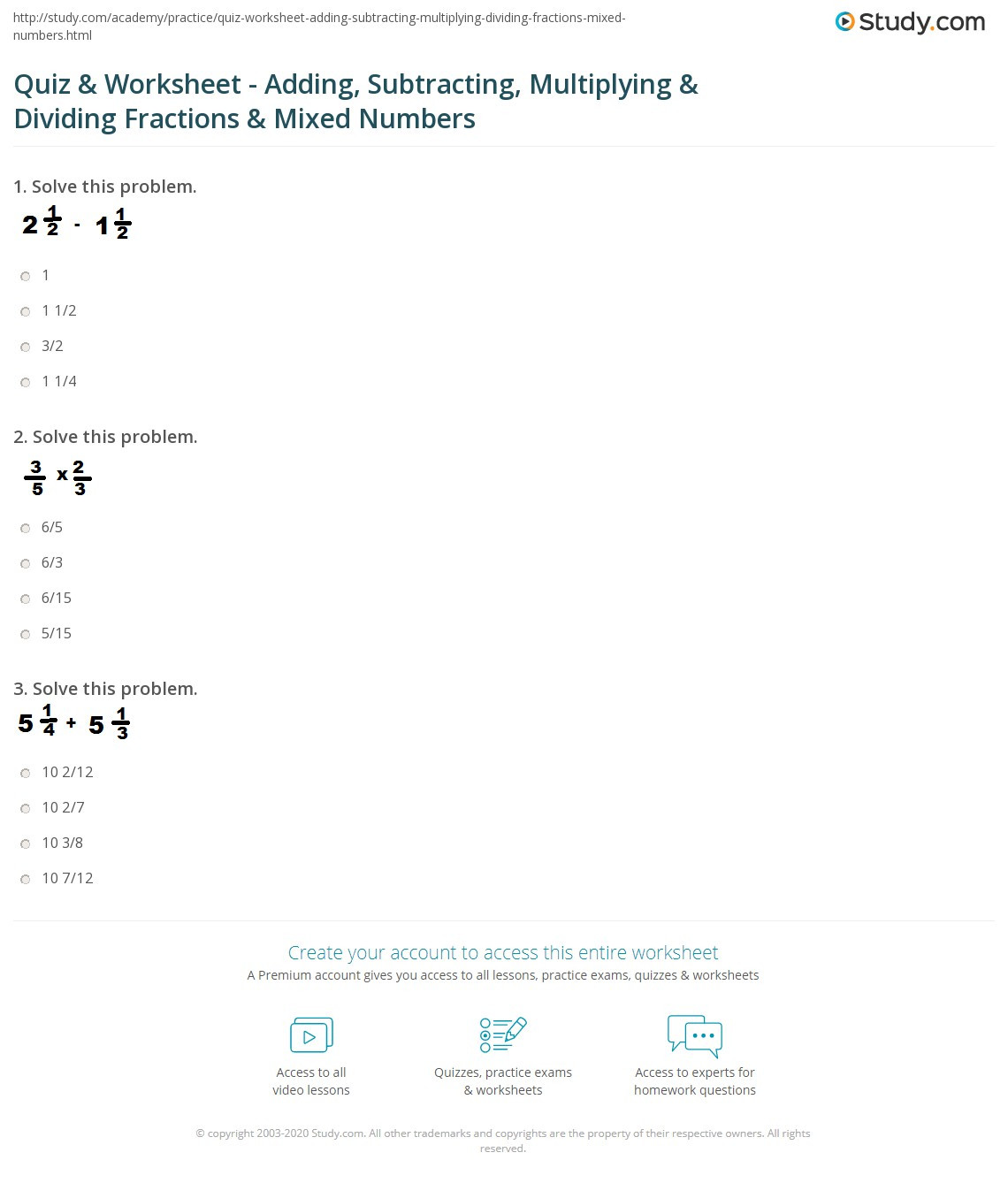 Dividing and Multiplying Fractions Worksheet Quiz & Worksheet Adding Subtracting Multiplying