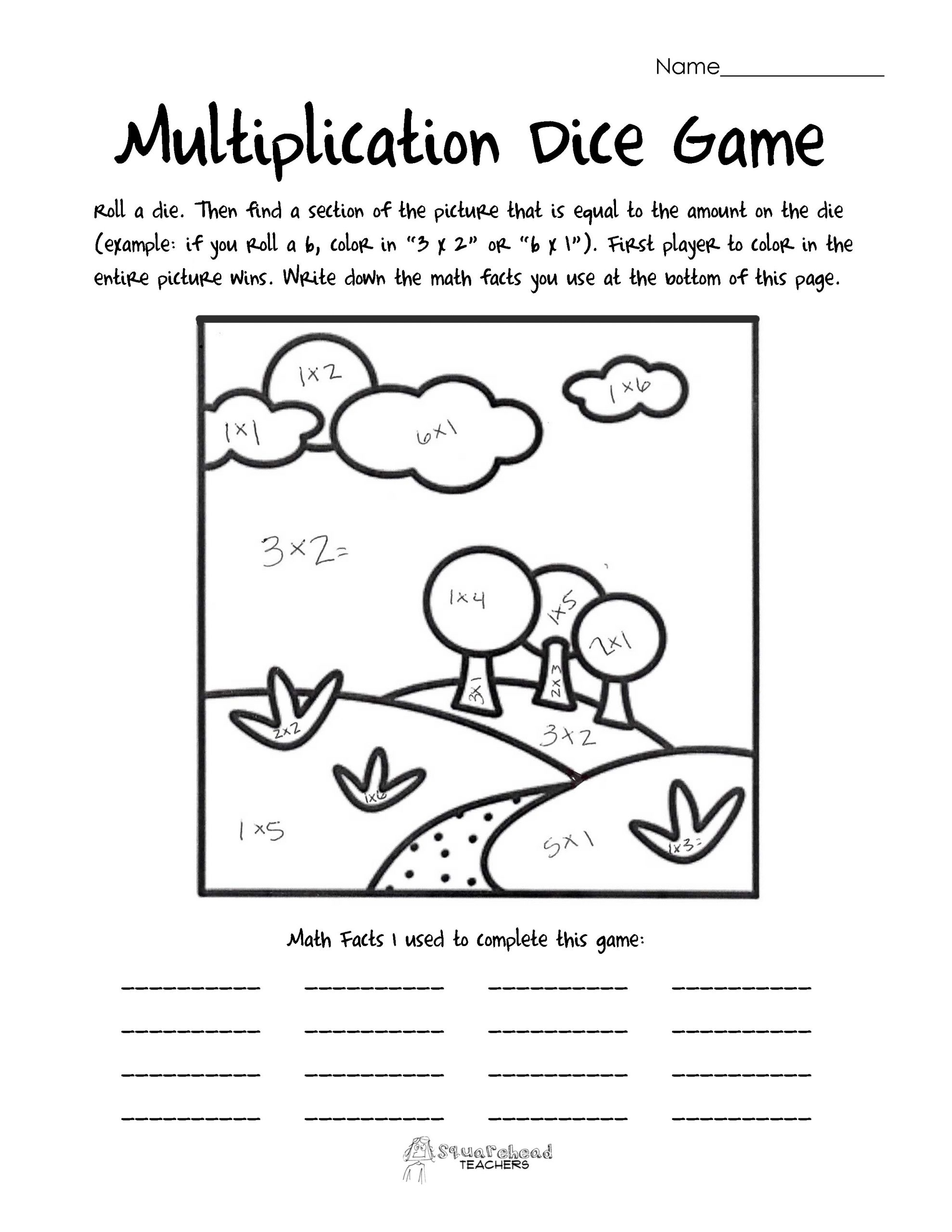 Multiplication Coloring Game Printable