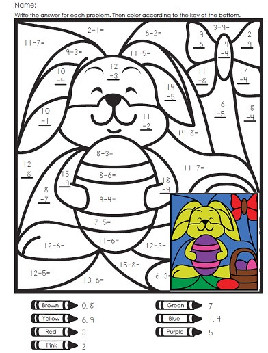Easter Multiplication Color Worksheets A Math Mystery Picture for Easter