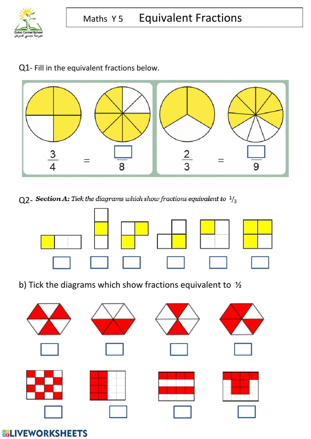 Equivalent Fractions Printable Worksheets Equivalent Fractions Worksheet