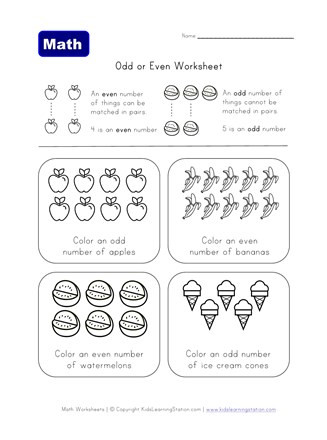 Even and Odd Numbers Worksheets even and Odd Numbers Coloring