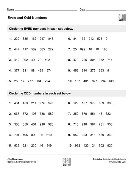Even and Odd Numbers Worksheets even Numbers and Odd Numbers Set 3 – Childrens Educational