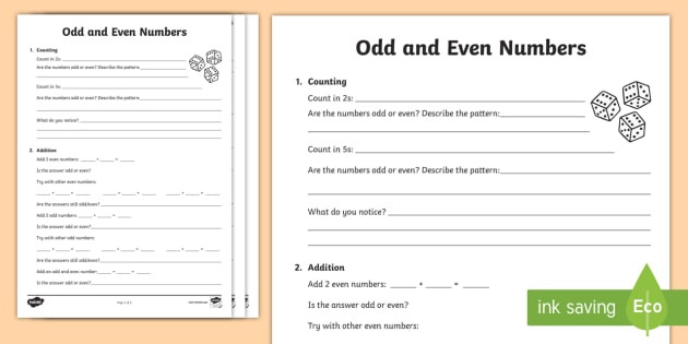 Even and Odd Numbers Worksheets Odd and even Numbers Maths Investigation Worksheet