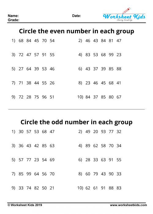 Even and Odd Numbers Worksheets Odd and even Numbers Worksheets Free Printable Pdf