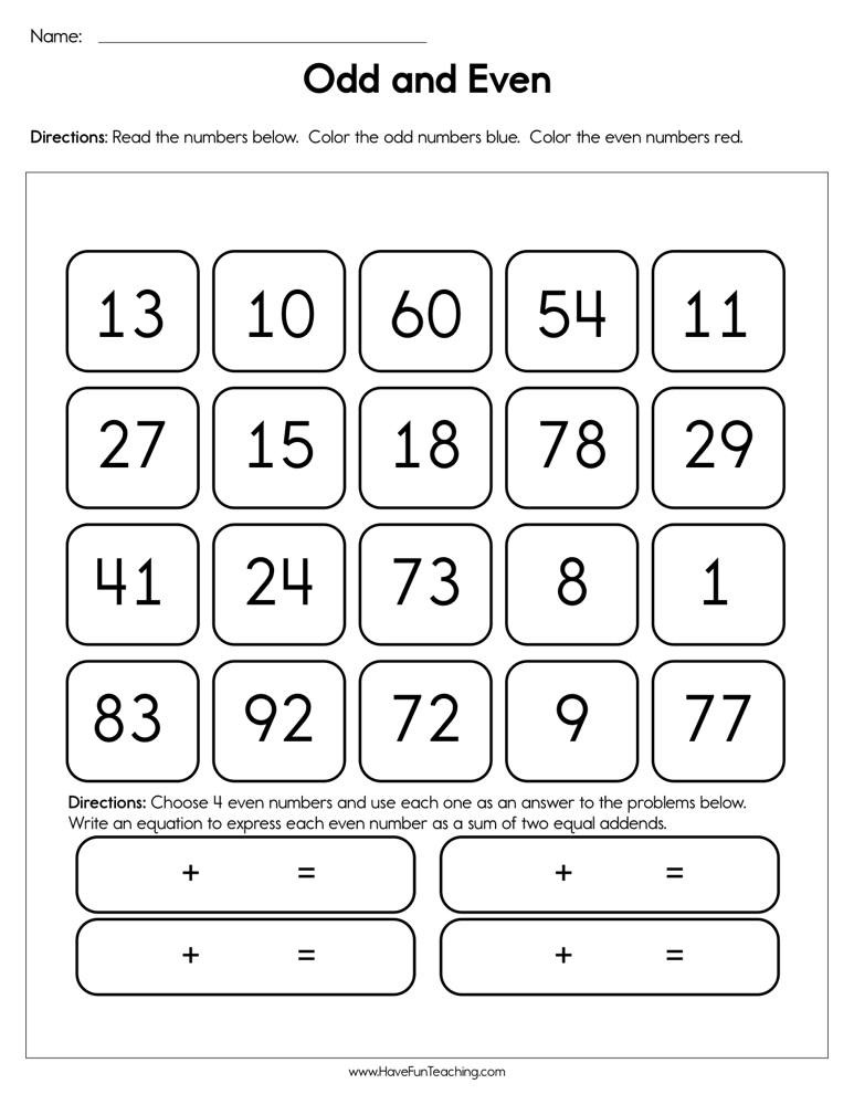 Even and Odd Numbers Worksheets Odd and even Worksheet