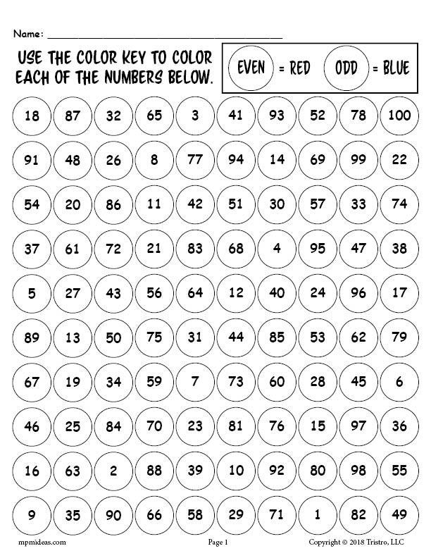 Even and Odd Numbers Worksheets Printable 100th Day Of School Odd and even Numbers Worksheet & Coloring Page