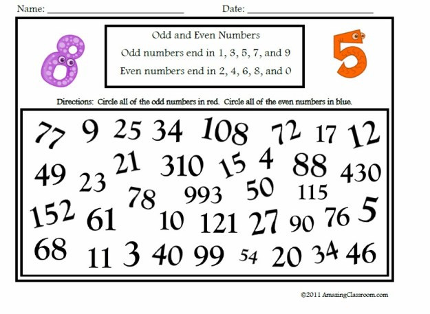Even and Odd Numbers Worksheets Worksheets even and Odd Numbers – Mreichert Kids Worksheets