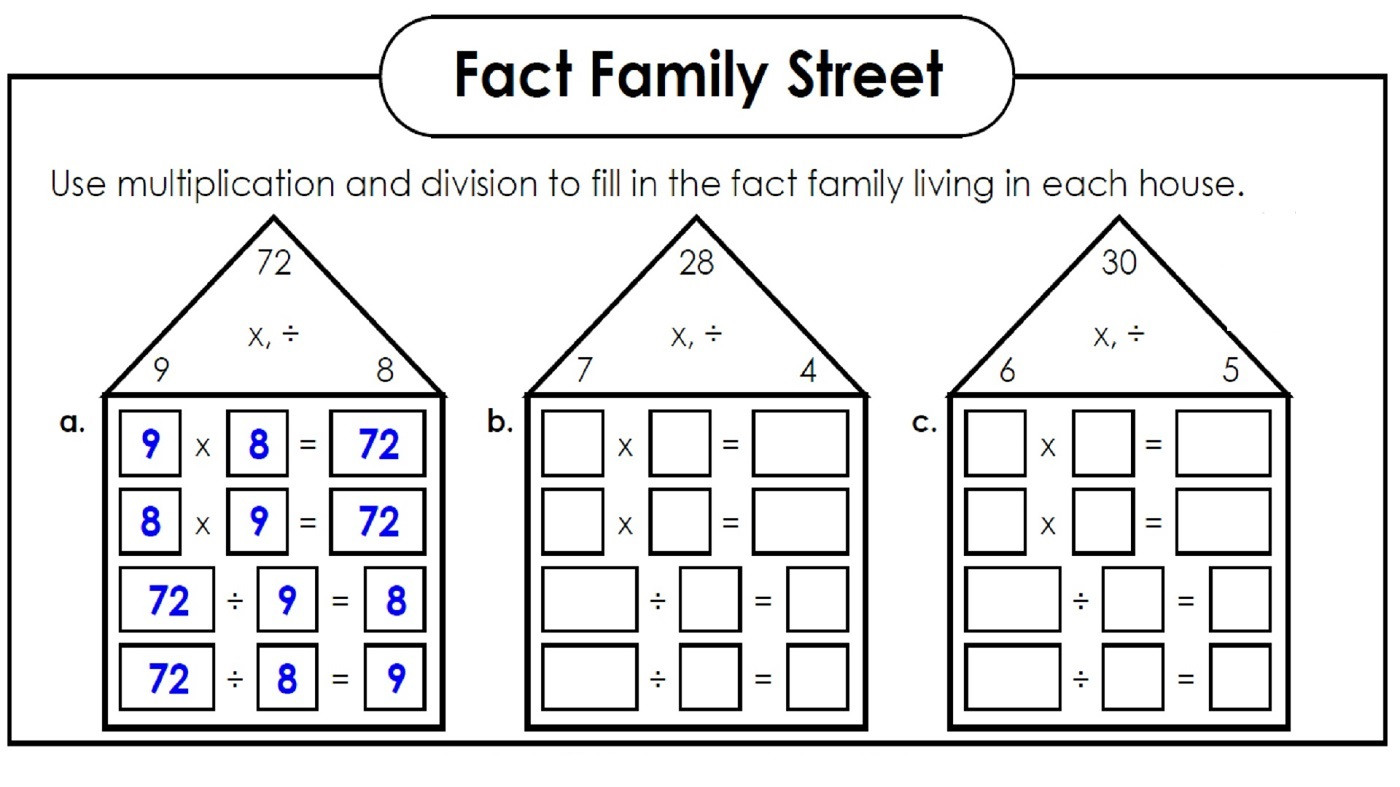 Fact Family Worksheets Multiplication Fact Families Worksheets Printable