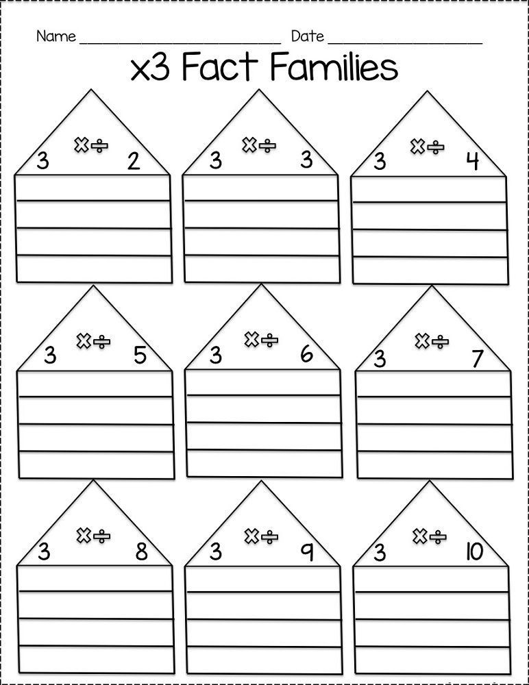 Fact Family Worksheets Multiplication Printable Fact Families Worksheets
