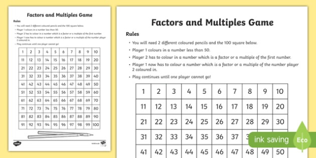 Factor and Multiple Worksheet Free Multiples and Factors Interactive Board Game Ks2