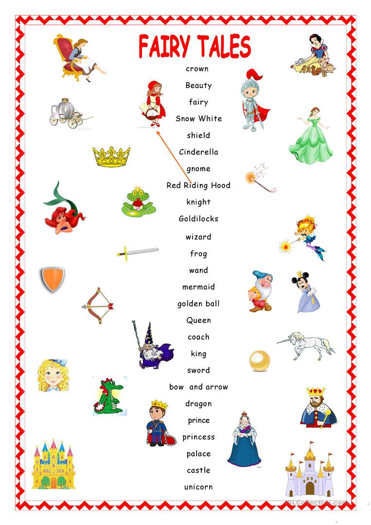 Fairy Tale Printable Worksheets Fairy Tales Matching English Esl Worksheets for Distance