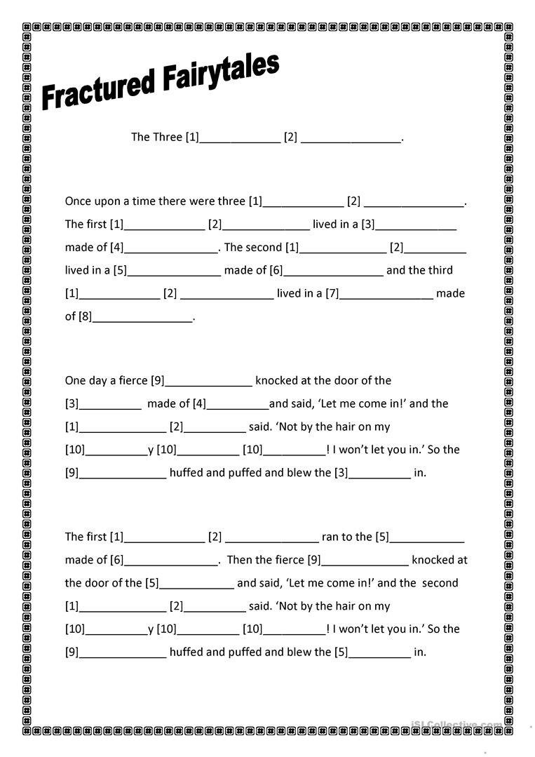 Fairy Tale Printable Worksheets Fractured Fairytales Three Little Pigs English Esl