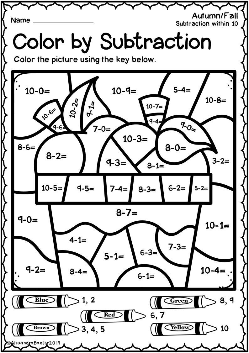 Fall Color by Numbers Worksheets Autumn Fall Color by Subtraction Worksheets Number Math