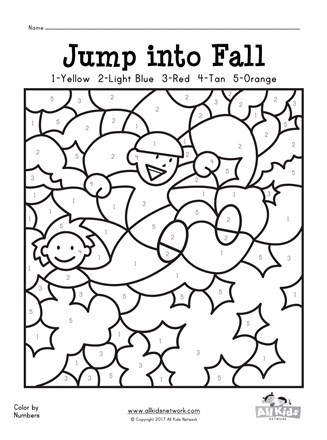 Fall Color by Numbers Worksheets Fall Color by Numbers Worksheet