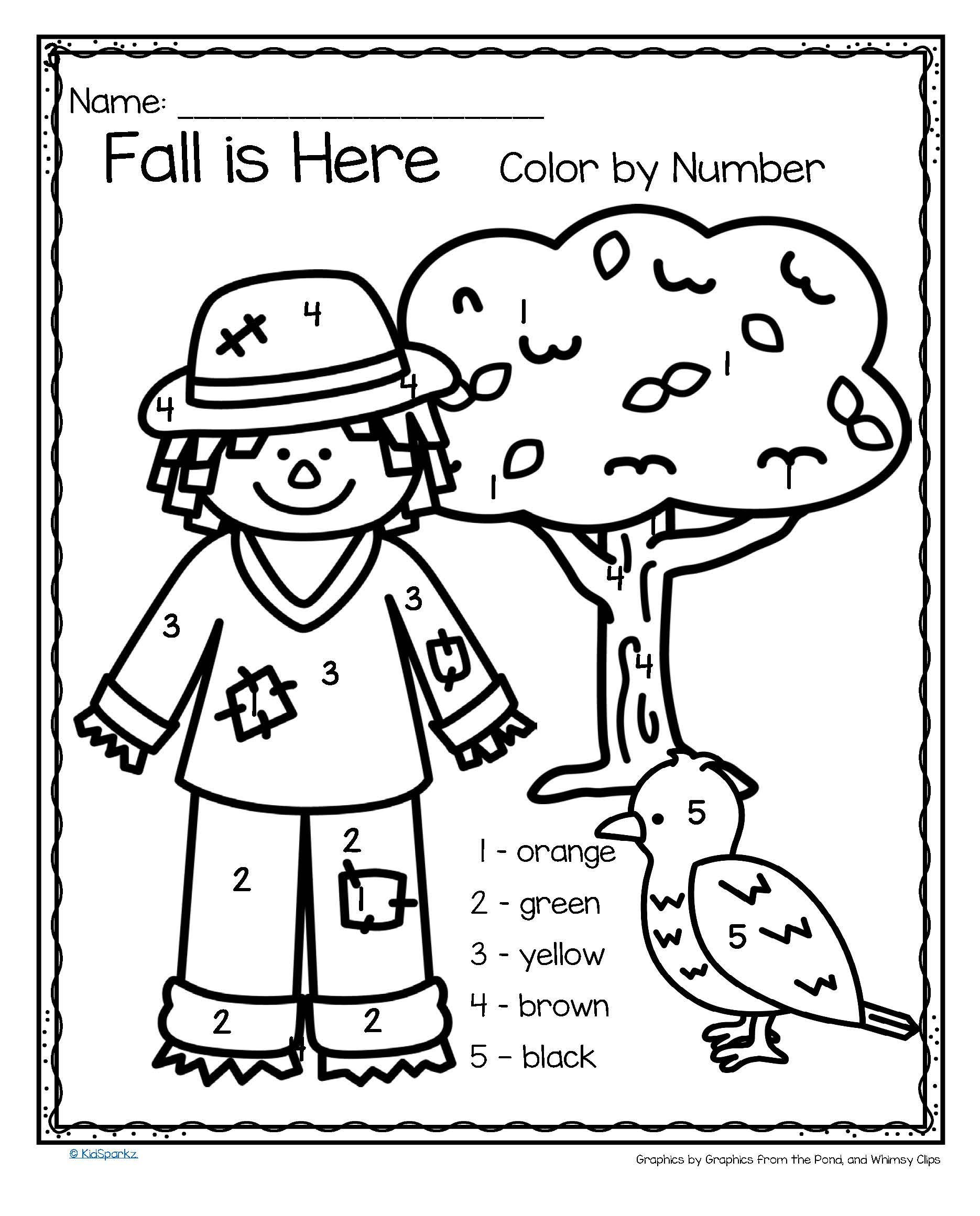 Fall Color by Numbers Worksheets Fall is Here Color by Number Printables 3 Pages