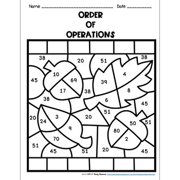 Fall Color by Numbers Worksheets order Of Operations Worksheets Color by Number Fall theme