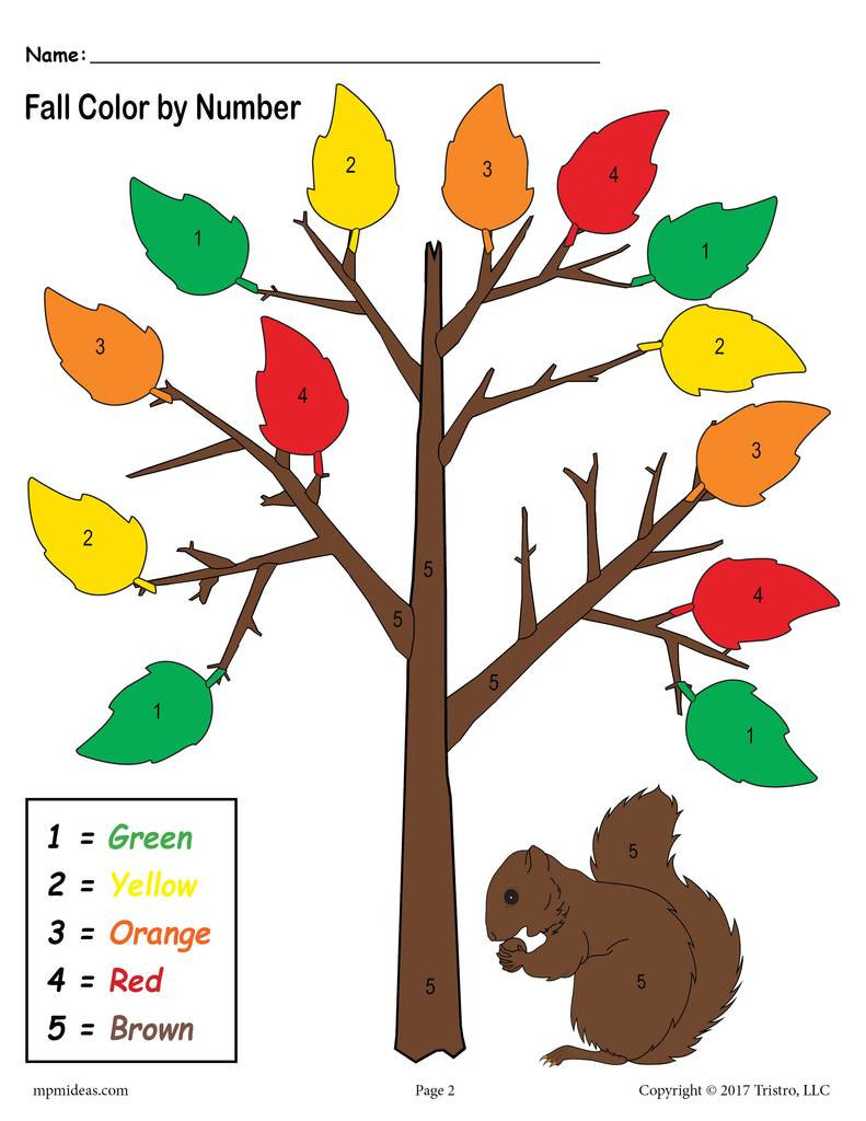 Fall Color by Numbers Worksheets Printable Preschool Fall themed Color by Number Worksheet