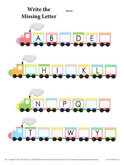 Fill In Missing Letters Worksheets Alphabet Train Worksheet