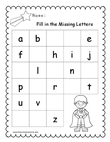 fill in the missing letters pre k 1st