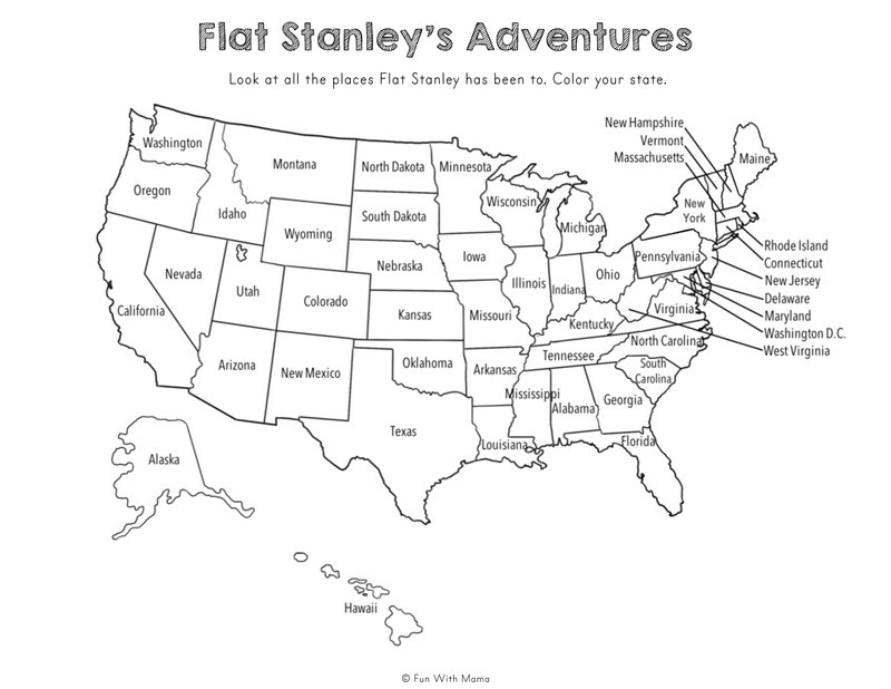 flat stanley coloring map