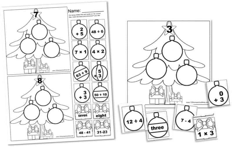 Free Christmas Multiplication Worksheets Free Cut and Paste Christmas Math Worksheets