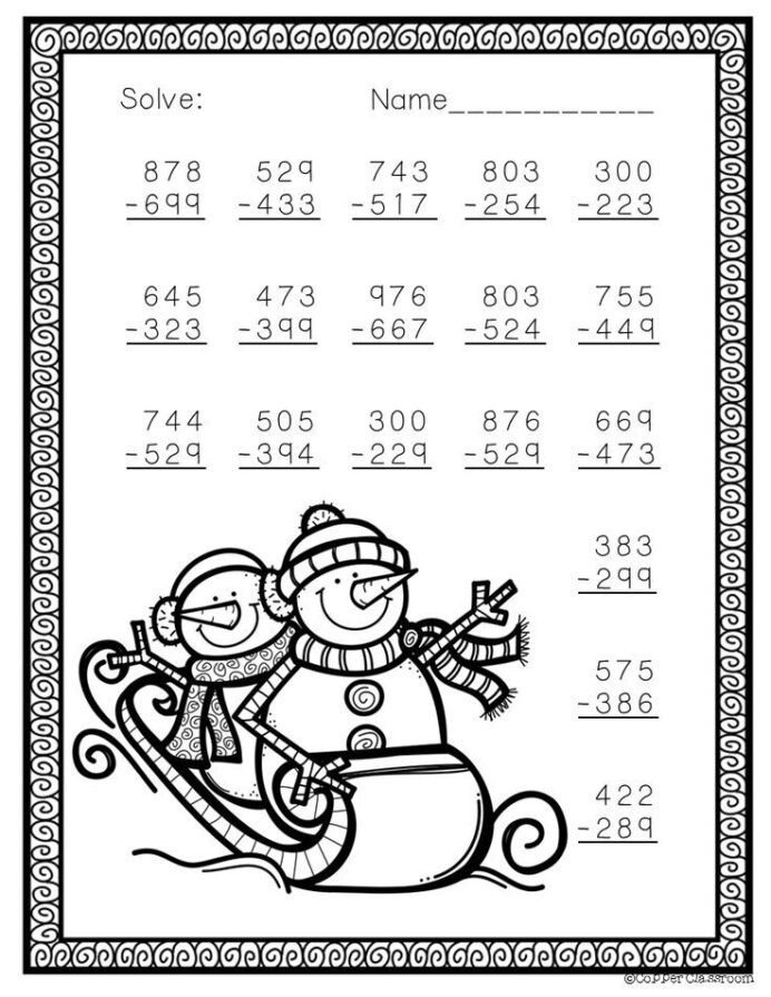 Free Christmas Multiplication Worksheets Free Three Digit Subtraction with Regrouping Winter theme