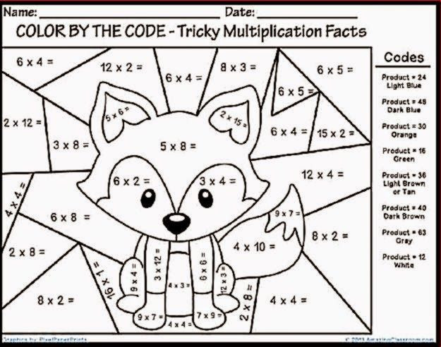 Free Fun Multiplication Worksheets Multiplication Color Sheet
