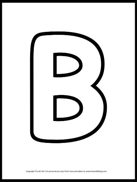 letter b uppercase outline coloring page printable worksheet s 1
