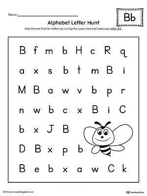 Free Letter Identification Worksheets Alphabet Letter Hunt Letter B Worksheet