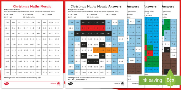 t2 m 4664 3 4 and 8 christmas multiplication mosaic activity sheets