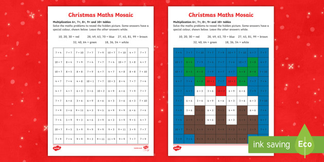 Free Multiplication Mosaics Worksheets 6 7 8 and 9 Times Tables Christmas Multiplication Mosaic