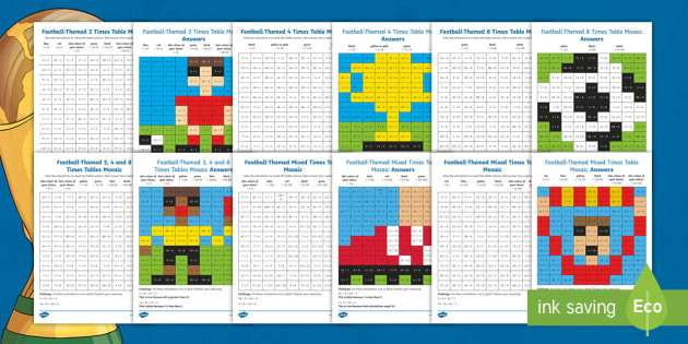 t2 m lks2 football themed multiplication tables and division facts maths mosaic activity sheets australia