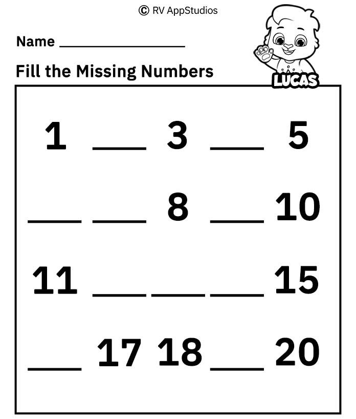 Free Number Worksheets 1 20 Missing Number Worksheets 1 20 Free Printable Worksheets