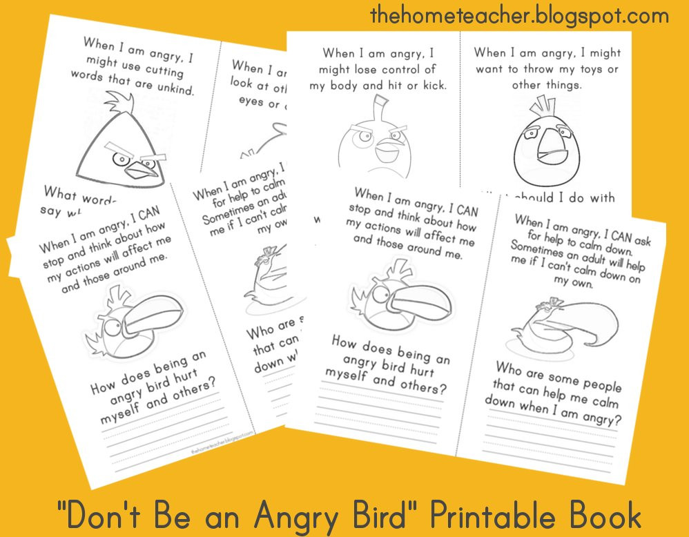 Free Printable Anger Management Worksheets Don T Be An Angry Bird Free Printables the Home Teacher