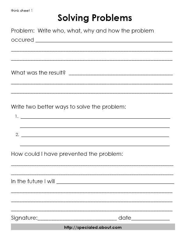 Free Printable Behavior Worksheets 3 Think Sheets for Students who Break the Rules