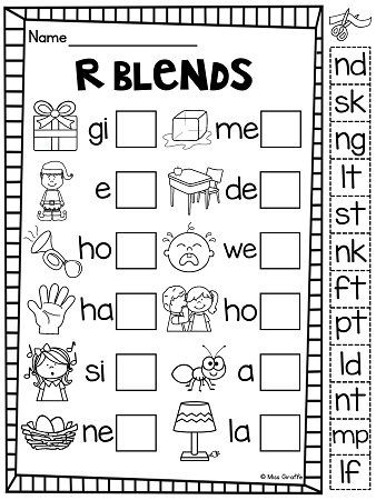 Free Printable Blends Worksheets Ending Blends Worksheets and Activities