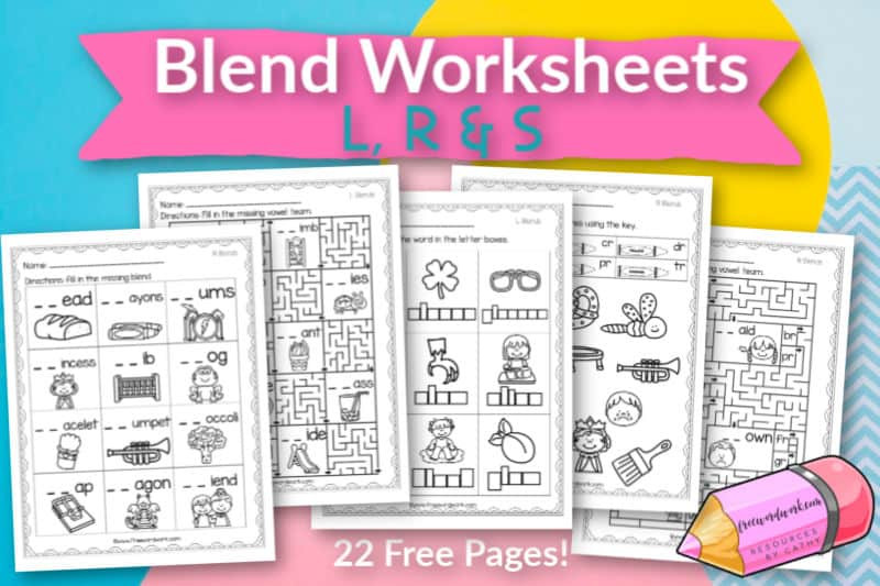 Free Printable Blends Worksheets L R & S Beginning Blend Worksheets Free Word Work
