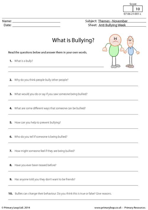 Free Printable Bullying Worksheets Year 7 Holidays and Months Printable Resources & Free