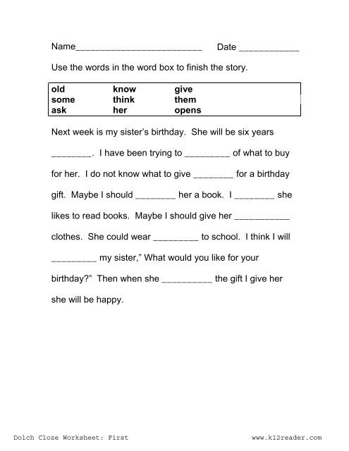 Free Printable Cloze Worksheets Cloze Activities Dolch First Grade Worksheet Reading
