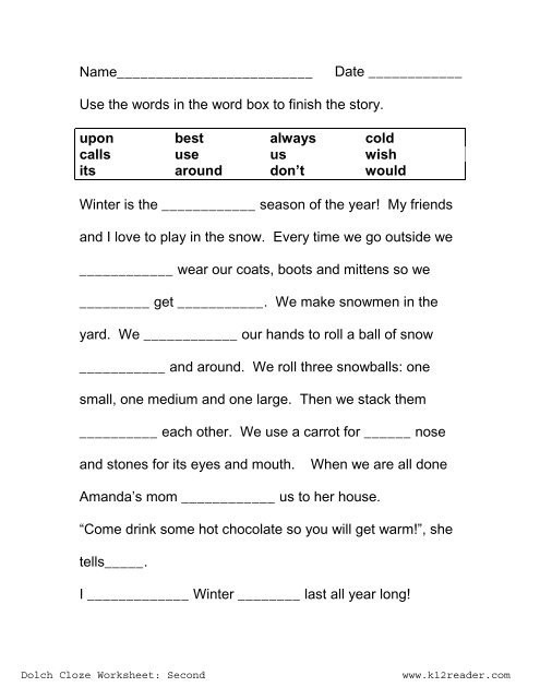 Free Printable Cloze Worksheets Cloze Activities Dolch Second Grade Worksheet Worksheets