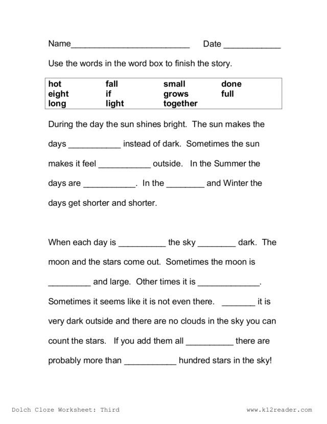 Free Printable Cloze Worksheets Cloze Passage the Sun Worksheet for 2nd 3rd Grade Lesson