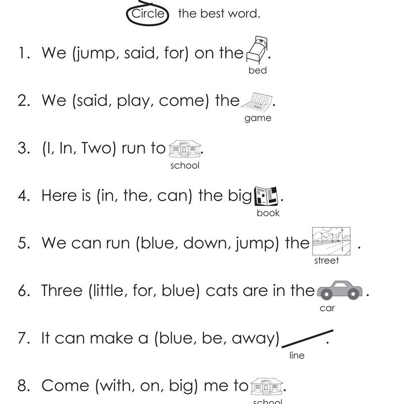 Free Printable Cloze Worksheets Dolch High Frequency Words Free Printable Worksheets